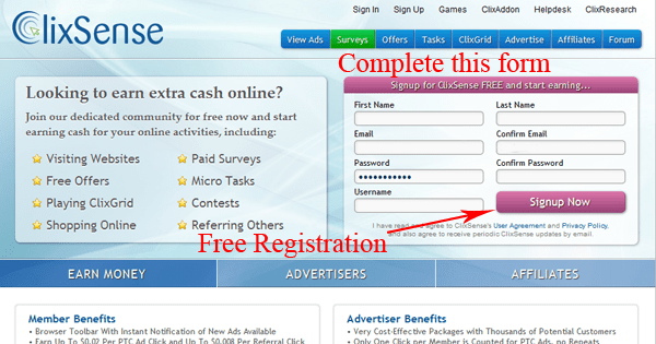Clixsense Registration